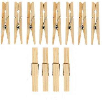 36 Wooden Clothes Pegs Clips Pine Washing Line Airer